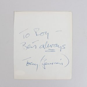 Psycho - Anthony Perkins Signed & Inscribed 5x6 Cut (JSA)