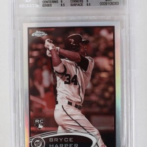 2012 Topps Chrome - Nationals - Bryce Harper Sepia Refractor 32/75 Rookie Baseball Card (#196 - Graded BGS 9)
