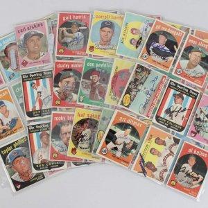 1959 Topps Baseball Signed Card Lot (81)- Enos Slaughter, Al Kaline, Art Ditmar etc.