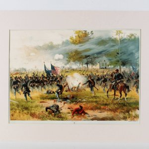 1887 American Lithographic Co. -Antietam Civil War Print Lithograph- L. Prang & Co. Boston