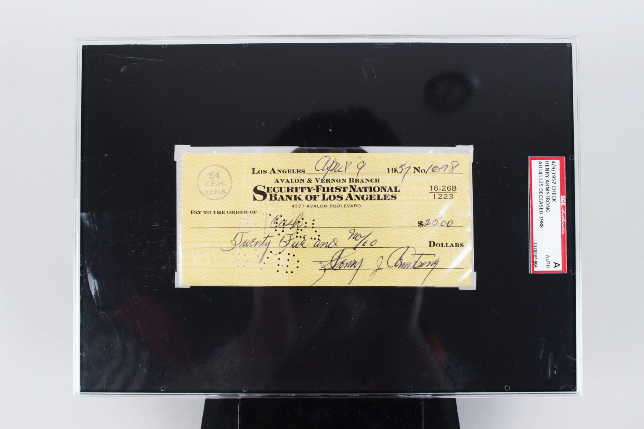 Henry Armstrong Signed Check Boxing - SGC Slab