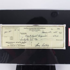 "Henry Armstrong Signed "" Triple Champion Enterprise "" Check  - SGC Slab"