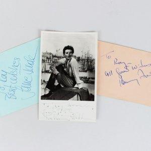 On Golden Pond Signed Lot - Katharine Hepburn (Photo), Jane & Henry Fonda 3x5 Cuts - COA JSA