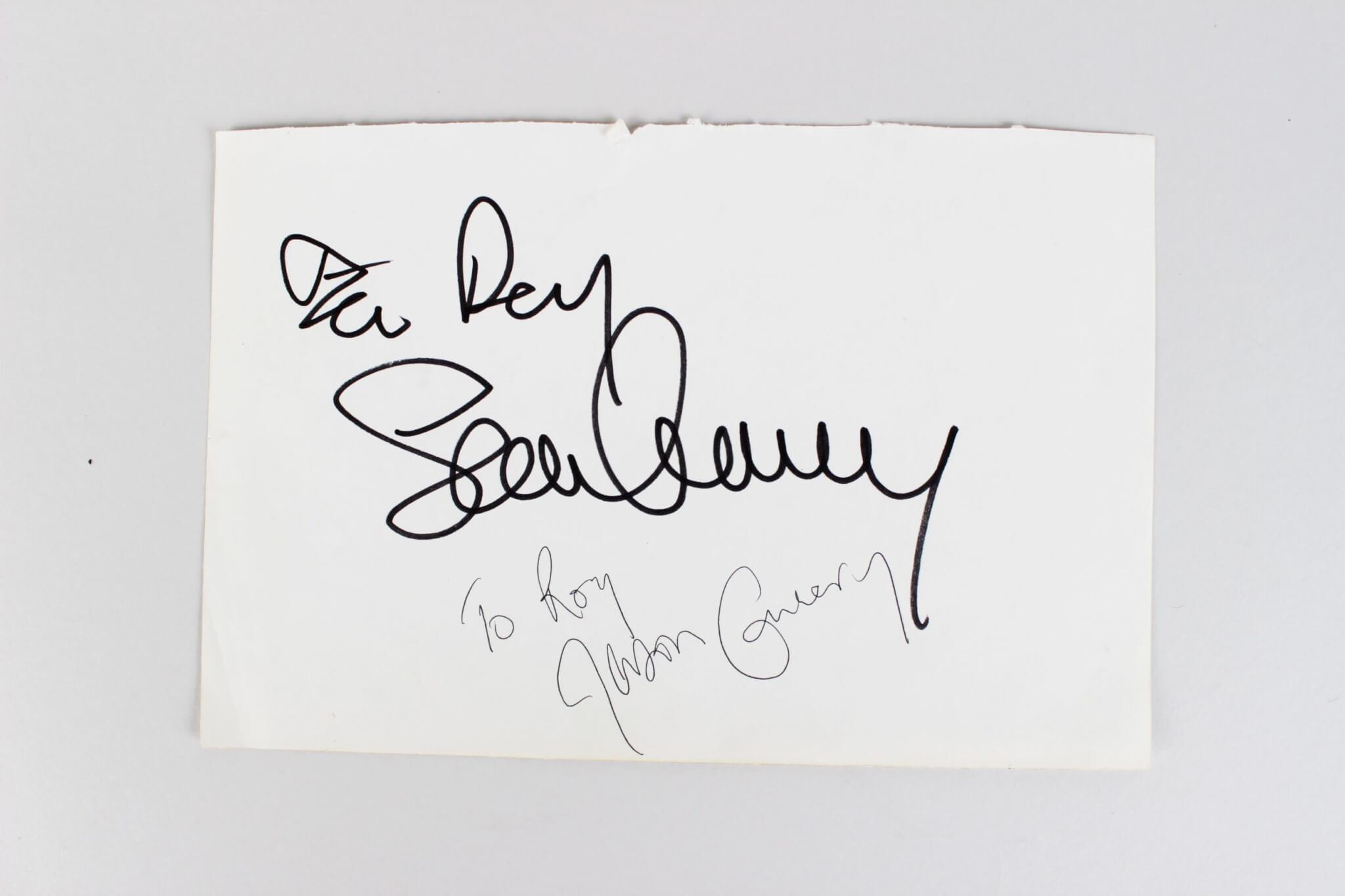 Sean & Jason Connery Signed 5x8 Cut Album Page - JSA Full LOA