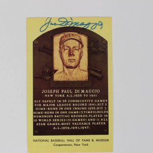 Yankees- Joe DiMaggio Signed Yellow HOF Plaque Post Card - PSA/DNA Full LOA
