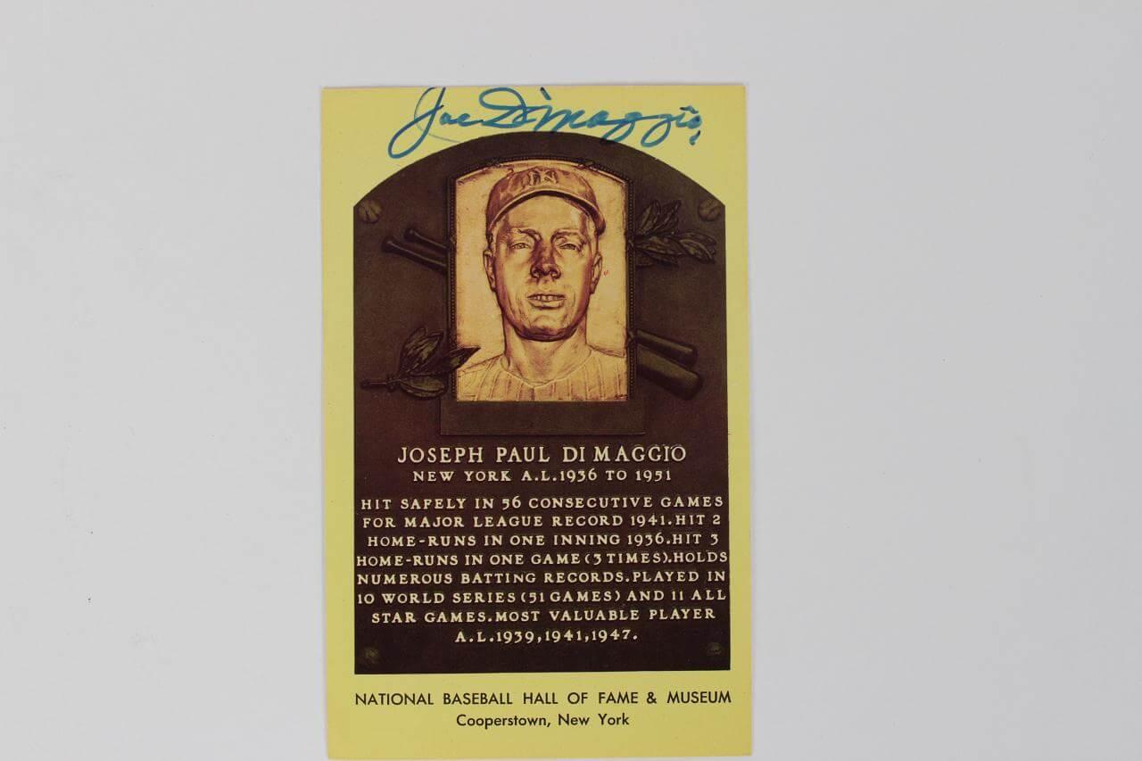 Yankees- Joe DiMaggio Signed Yellow HOF Plaque Post Card - PSA/DNA Full LOA