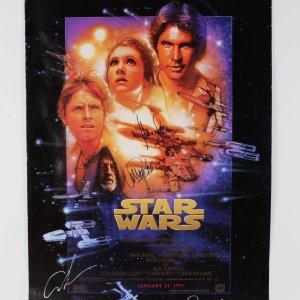 1997 Star Wars Poster Signed Alec Guinness, Harrison Ford, Mark Hammill, Carrie Fisher, George Lucas & Peter Mahew (JSA Full LOA)