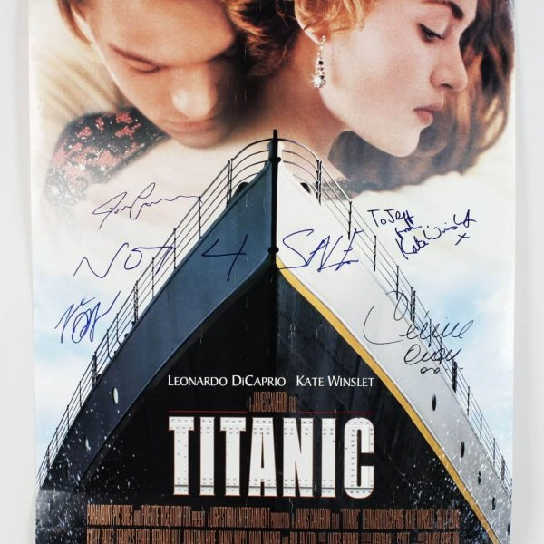 titanic film poster signed by celine dion james cameron