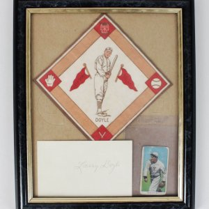 New York Giants - Larry Doyle Signed 3x5 Cut, T206 & 1914 B18 Blanket Display (JSA)