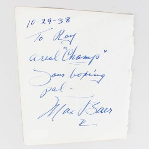 Max Baer & Amedeo Nazzari Signed & Inscribed 5x6 Cut - COA JSA