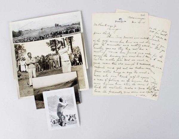 Lot of Vintage Golf Photos 1935 Ryder Cup Walter Hagen, Gene Sarazen, Sam Parks, Arnold Palmer & Signed Letter