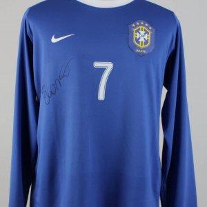 2007-08 Brazil - Elano Blumer Friendly Match-Worn Signed, Shirt (JSA)