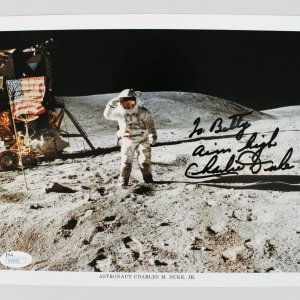 Astronaut - Charles Duke Jr. Signed & Inscribed Apollo 16 Mission Photo (JSA COA)