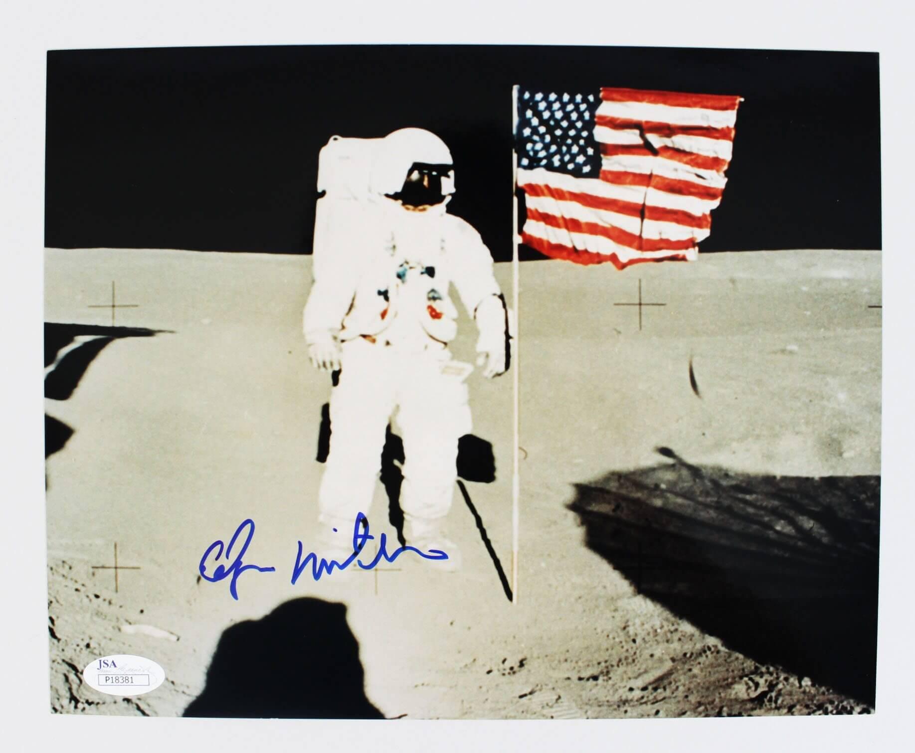 Astronaut - Edgar Mitchell Signed Apollo 14 Mission Photo - COA JSA