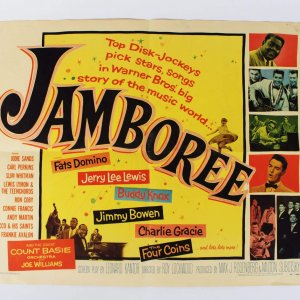 1957 Jamboree Rock and Roll Half Sheet Movie Poster Starring Fats Domino, Jerry Lee Lewis, Count Bassie etc.