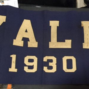 "VINTAGE 1930 YALE UNIVERSITY BANNER 20"" X 43"" BLUE WOOL FELT"