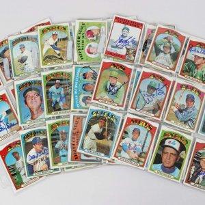 1972 Topps Baseball Signed Card Lot (99) - Gene Mauch, Rollie Fingers, Jim Hunter etc.