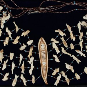 "Navajo ""5 Strand"" Carved Buffalo Bone Pray Fetish Necklace"