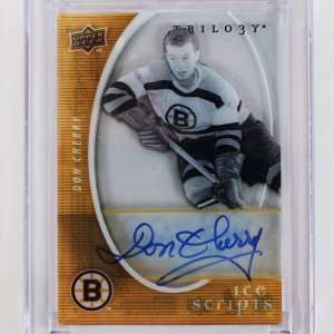 2008 Upper Deck Trilogy - Boston Bruins - Don Cherry Signed Hockey Card Ice Scripts (IS-DC)