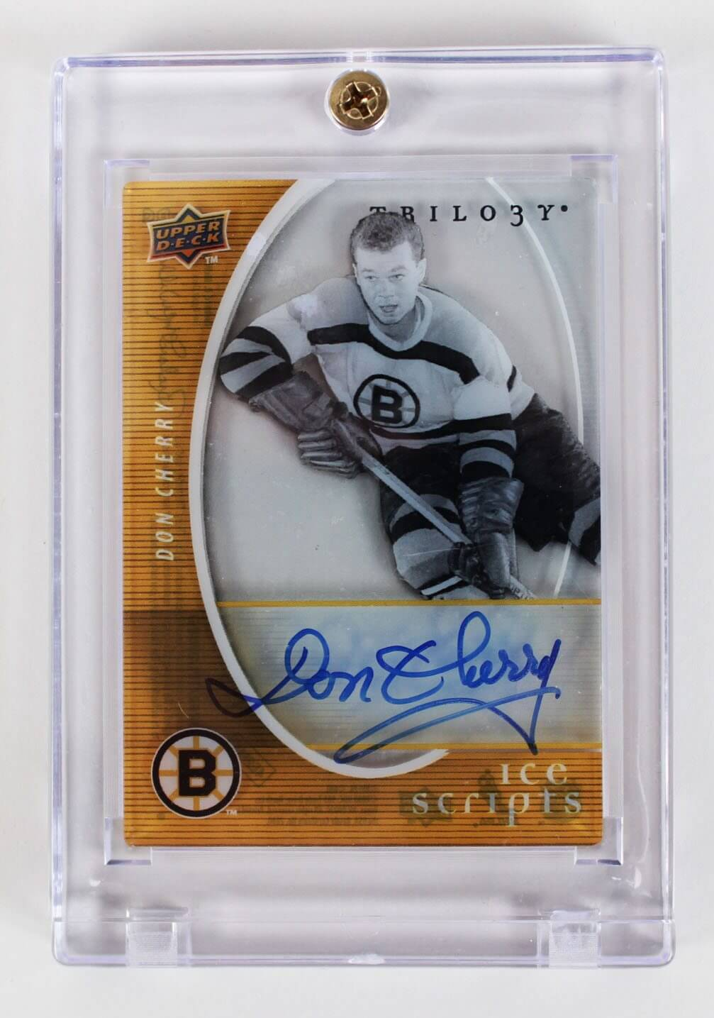 2008 Upper Deck Trilogy – Boston Bruins – Don Cherry Signed Hockey Card Ice Scripts (IS-DC)54482_01