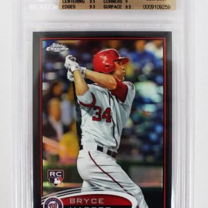 2012 Topps Chrome - Nationals - Bryce Harper Black Refractor 56/100 Rookie Baseball Card (#196 - Graded BGS 9.5)