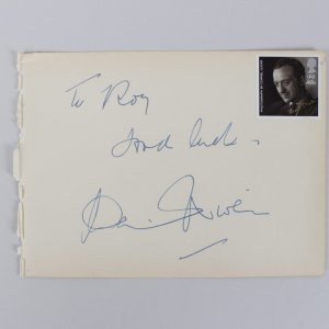 Separate Tables - David Niven Signed & Inscribed 4x6 Cut (JSA COA)