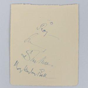 RARE - John Mills & Mary Hayley Bell Signed 5x6 Vintage Cut (JSA COA)