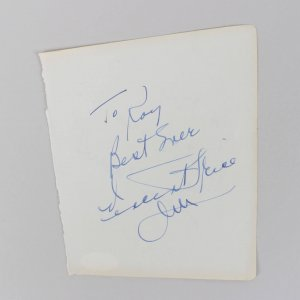 Vincent Price & Joan Plowright Signed, Inscribed 5x6 Vintage Cut (JSA COA)