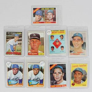 Brooklyn / L.A. Dodgers (9) Topps Card Lot (6) Sandy Koufax (1957-66), (2) Don Drysdale & Don Sutton