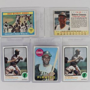 Pittsburgh Pirates - Roberto Clemente Baseball Card Lot - 1963 Post, 1969 Topps, (2) '73 & '61 Mazeroski HR