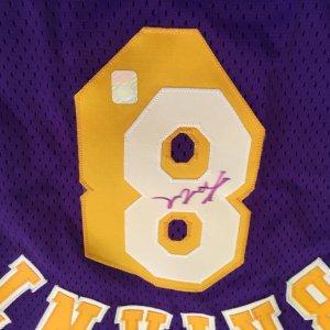 Kobe Bryant signed 96-97 Pro Cut Rookie Jersey Size 44 Ex +3 (Player Hologram)