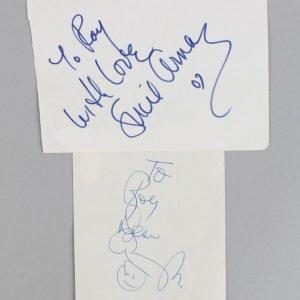 Lucie & Desi Arnaz Jr. Signed & Inscribed 3x5 Vintage Cuts (JSA COA)