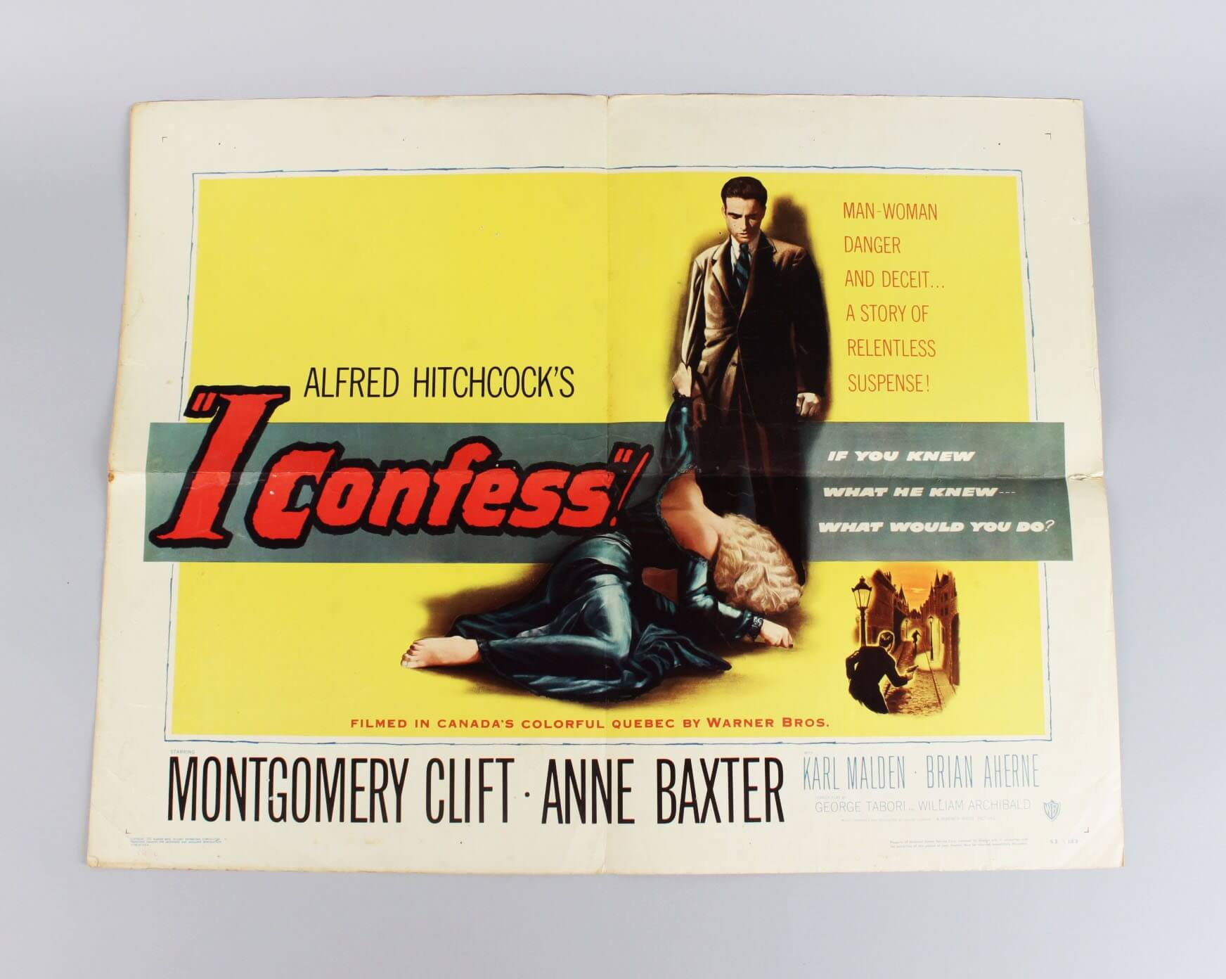 1953 - I Confess Half Sheet 22x28 Movie Film Poster - Alfred Hitchcock, Montgomery Clift, Anne Baxter etc.