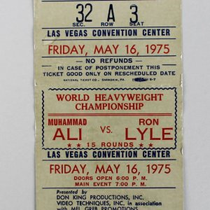 1975 Muahmmad Ali Vs. Ron Lyle Fight Ticket May 16, Las Vegas Convention
