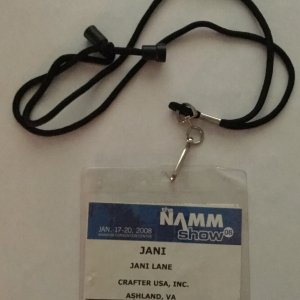 Warrant Rock Band- Jani Lane's Personal NAMM Backstage Pass 2008'