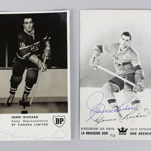 Montreal Canadiens - HOFers Henri Richard & Maurice Richard Signed Promo Photos Lot - JSA