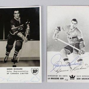 Montreal Canadiens - HOFers Henri Richard & Maurice Richard Signed Promo Photos Lot (JSA)