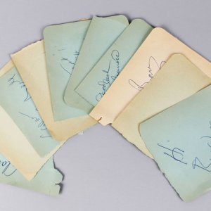 1950-60's TV Star's Signed Lot (10) Vintage 4x5 Album Page Cuts - JSA