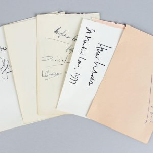 Political & Military Signed Lot (5) Vintage Album Page Parchment Cuts - Harold Alexander, Claude Auchinleck etc. (JSA)