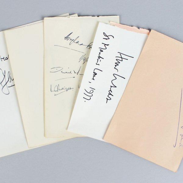 Political & Military Signed Lot (5) Vintage Album Page Parchment Cuts - Harold Alexander, Claude Auchinleck etc. (JSA)