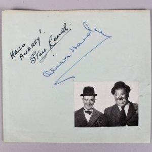 Stan Laurel & Oliver Hardy Signed & Inscribed 5x6 Vintage Cut (JSA Full LOA)