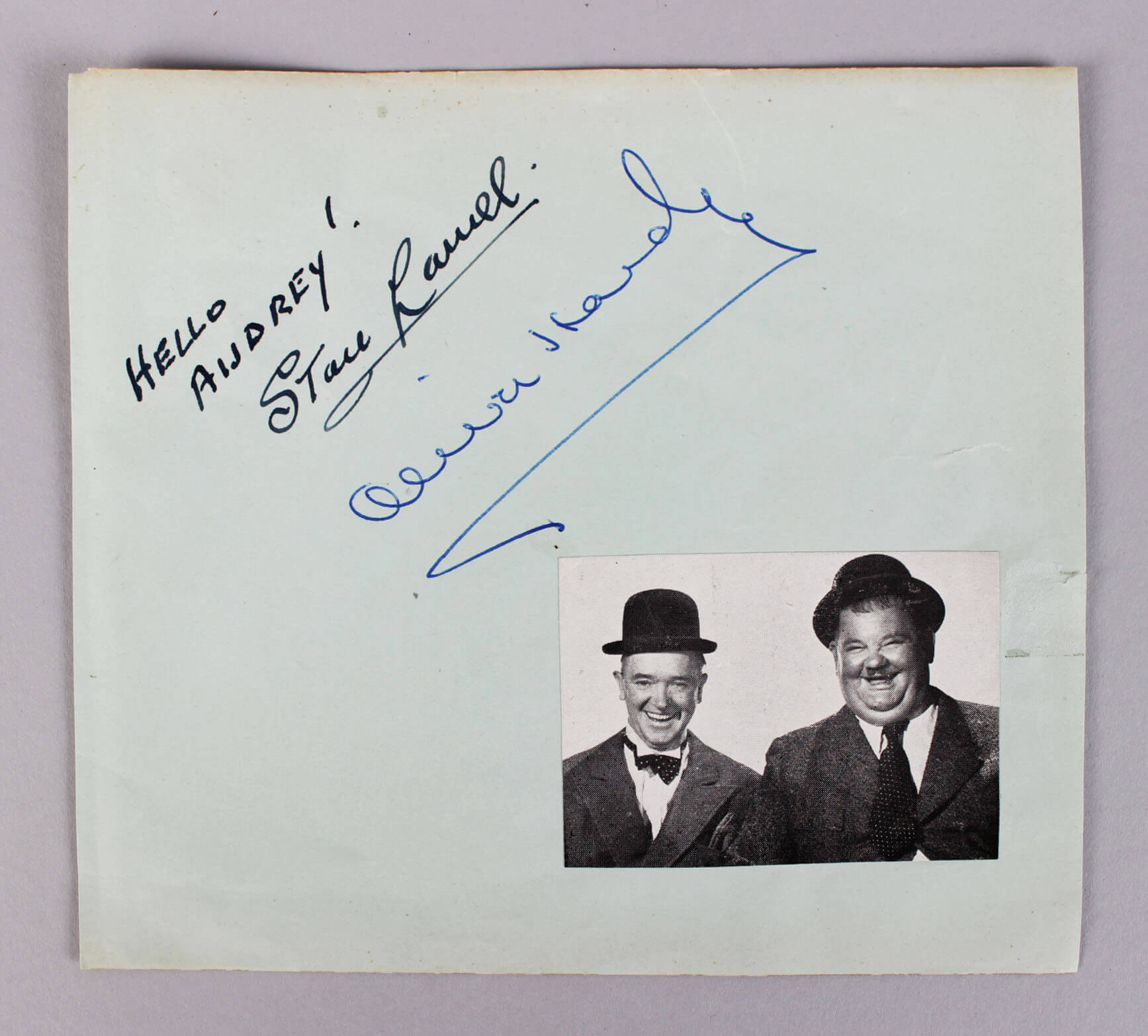 Stan Laurel & Oliver Hardy Signed & Inscribed 5x6 Vintage Cut (JSA Full LOA)