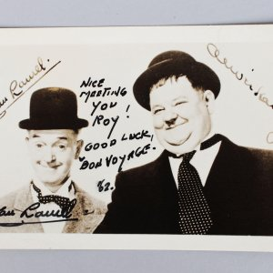 English Comic Actor - Stan Laurel Signed & Inscribed 3x5 Sepia Photo (JSA Full LOA)