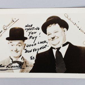English Comic Actor - Stan Laurel Signed & Inscribed 3x5 Sepia Photo - JSA Full LOA