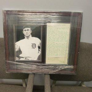 TY Cobb signed 1960 letter collage framed JSA Cert