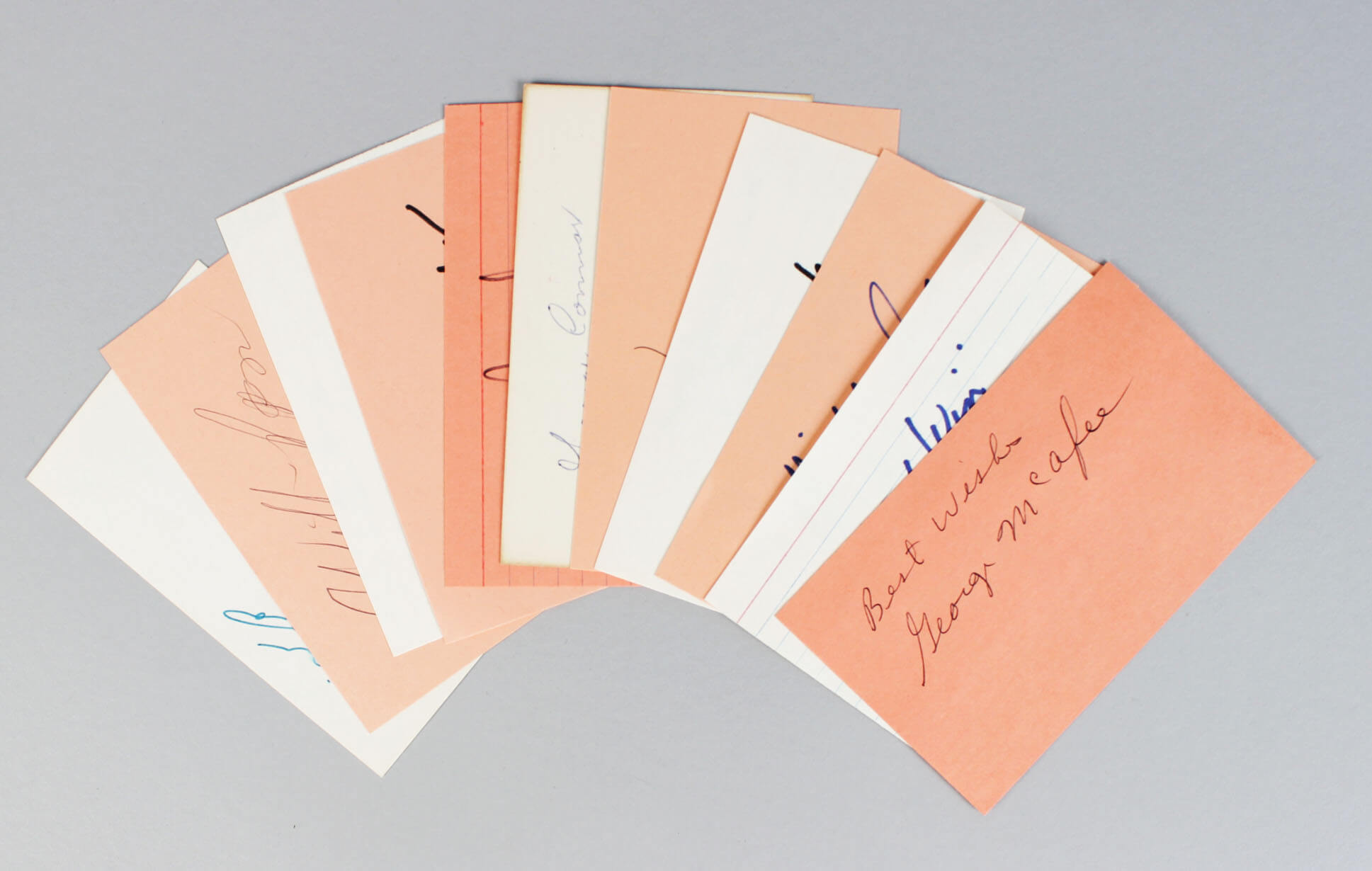 Chicago Bears Signed 3x5 Index Cards Lot (10) - Bronko Nagurski, Mike Ditka, George Blanda etc. (JSA)