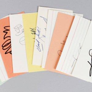 Oakland Raiders Signed 3x5 Index Cards Lot (10) - Blanda, Biletnikoff etc. (JSA)
