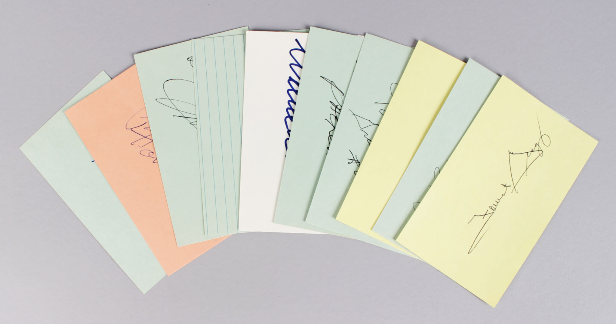 Green Bay Packers Signed 3x5 Index Cards Lot (10) - Jim Taylor, Paul Hornung, Willie Wood etc. (JSA)