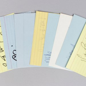 L.A. Lakers Signed 3x5 Index Cards Lot (10) - Kareem Abdul-Jabbar, Elgin Baylor, A. C. Green, Buss etc (JSA)