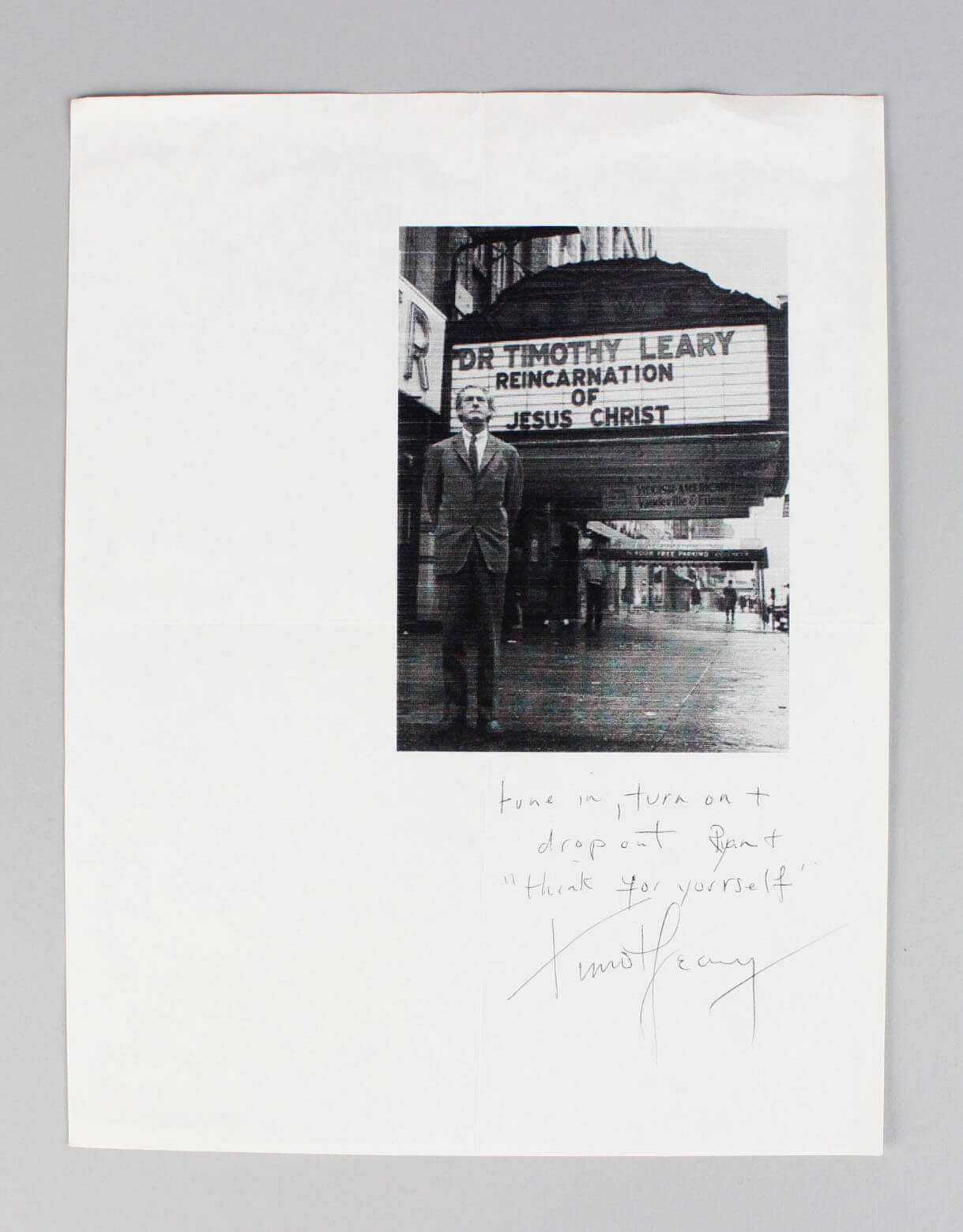Reincarnation of Jesus Christ -Timothy Leary Signed & Inscribed Printed Photo (JSA)